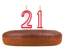 Birthday cake with candles number 21 isolated. On white background Stock Photo