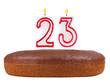 Birthday cake with candles number 23 isolated Royalty Free Stock Photography