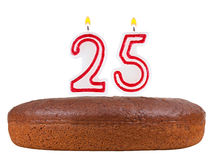 Birthday cake with candles number 25 isolated. On white background Stock Photography