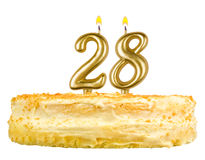 Birthday cake with candles number twenty eight Royalty Free Stock Photography