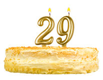 Birthday cake with candles number twenty nine Stock Photos