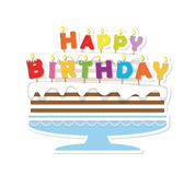 Birthday cake with candles. Paper cutout sticker. Royalty Free Stock Photo