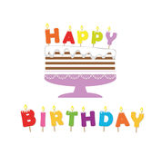 Birthday cake with candles. Paper cutout sticker. Happy birthday letters Stock Photos