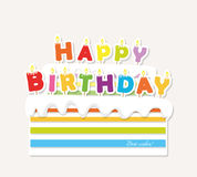 Birthday cake with candles. Paper cutout sticker. Happy birthday letters Royalty Free Stock Images