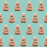Birthday cake with candles. Seamless vector illustration royalty free illustration
