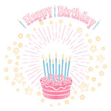 Birthday cake with candles and stars. Hand drawn birthday cake with candles stars and greetings lettering isolated on white. Vector illustration royalty free illustration