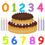 Birthday Cake With Candles. Vector Royalty Free Stock Images