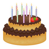 Birthday Cake With Candles. Vector Royalty Free Stock Photo