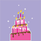 Birthday Cake 10 Candles Vector Royalty Free Stock Photography
