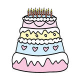 Birthday Cake With  Candles. Vector Illustration Royalty Free Stock Image