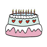 Birthday Cake With  Candles. Vector Illustration Stock Photo