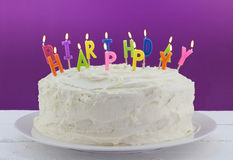Birthday Cake With Candles On White Table Royalty Free Stock Photography