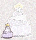 Birthday cake card - pointillism, colorful background Royalty Free Stock Photography