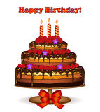 Birthday Cake Card with Raspberries Royalty Free Stock Photography
