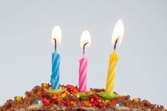 Birthday cake, celebrate day, candles royalty free stock photo
