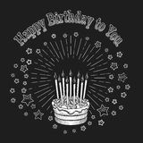Birthday cake chalkboard greeting card Royalty Free Stock Photos