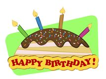 Birthday cake. A cheerful card with birthday cake and candles Royalty Free Stock Photo