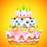 Birthday cake with cherries and citrus. Birthday cake with cherries, citrus fruit and candles Stock Images