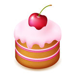 Birthday Cake With Cherry Stock Photography