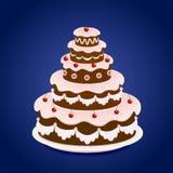 Birthday cake with cherry Stock Photo