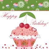 Birthday cake with cherry. And text Happy Birthday Stock Image