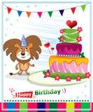Birthday Cake. Children postcard. Day of birth. Background illustrations Stock Photos