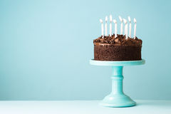 Birthday cake. Chocolate birthday cake with candles Stock Images