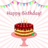 Birthday cake with chocolate cream, cherries and candles on a pink plate. On a background of beams and flags. Vector, flat style Royalty Free Stock Images