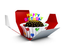Birthday cake with chocolate creme. 3d Illustration. Royalty Free Stock Images