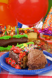 Birthday cake and chocolate ice cream Stock Image
