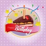Birthday cake chocolate tart label. Colorful birthday cake chocolate tart label Stock Photos