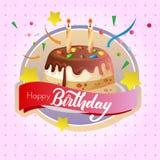Birthday cake chocolate tart label and sprinkles. Colorful birthday cake chocolate tart label Stock Images