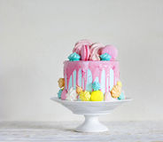 Birthday cake. Close-up. Birthday cake. Modern style. Merengue Stock Image