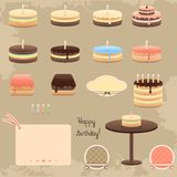 Birthday cake collection Stock Images