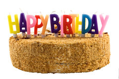 Birthday cake with color candles Royalty Free Stock Photo