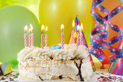 Birthday cake and colorful background Royalty Free Stock Photography