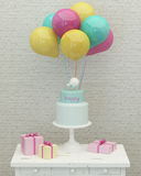 Birthday cake, colorful balloons and presents 3d  Royalty Free Stock Photo
