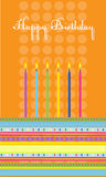 Birthday cake with colorful candles. Vector birthday cake with colorful candles Royalty Free Stock Photos