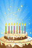 Birthday cake with colorful candles stock illustration
