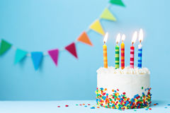 Birthday cake. With colorful candles Stock Image