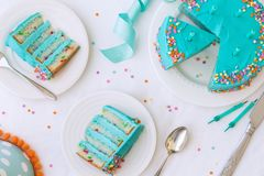 Birthday cake from above. Birthday cake with colorful frosting and sprinkles Royalty Free Stock Photography