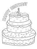 Birthday cake coloring page Royalty Free Stock Photography