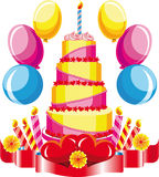Birthday cake with congratulations royalty free illustration