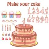Birthday cake constructor set. Chocolate cake and cupcakes with set of elements for decoration: numbers, candles, merengues. Kid`s birthday. Customized dessert Royalty Free Stock Photo