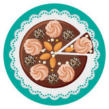 Birthday cake with cream flowers, chocolate balls, nuts, top view Stock Images