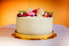 Birthday cake with cream, fresh fruit and berries slide. Stock Photo