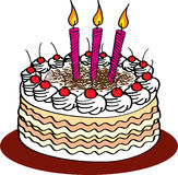 Birthday cake. With  creme and burning candles Royalty Free Stock Photos