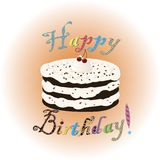 Birthday cake with creme and cherry Royalty Free Stock Photo