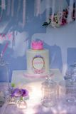 Birthday cake with a crown Royalty Free Stock Photos
