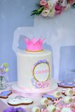 Birthday cake with a crown Royalty Free Stock Photo